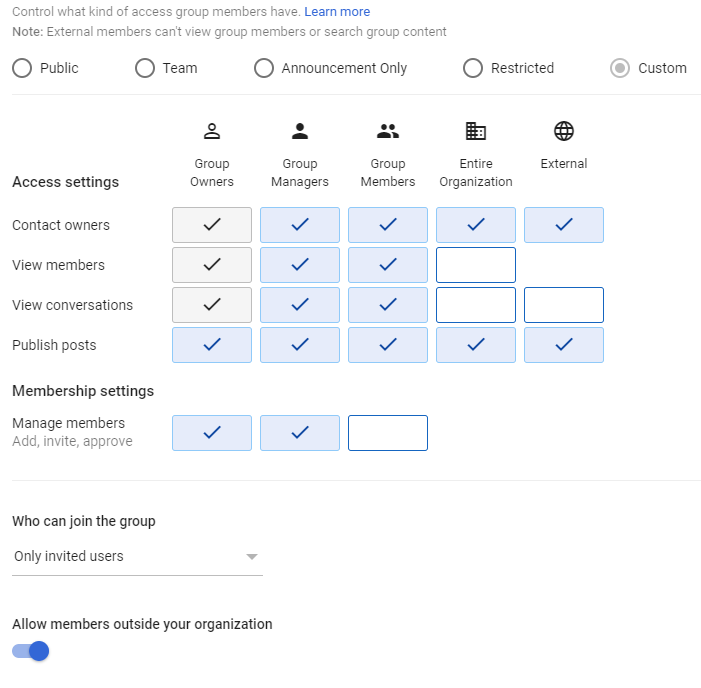 Google Workspace Group Settings